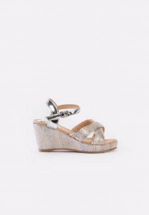 Metallic crisscross strap glitter wedge heel for kids