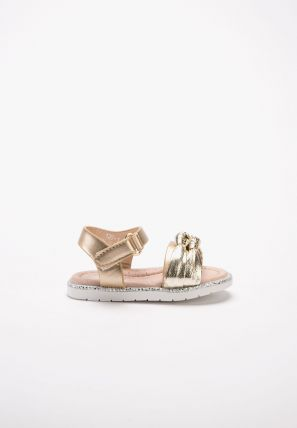 Girls glittery clumpy sandals with a knot and soft foot-bed