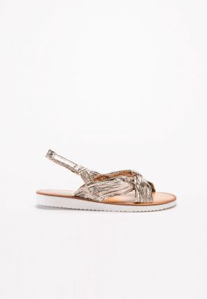 Kid's Metallic Criss-Cross Strap Sandal
