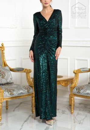 Glitter Draped Empire Dress