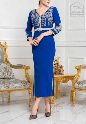 Embroidered Side Slitted Body Cone Dress