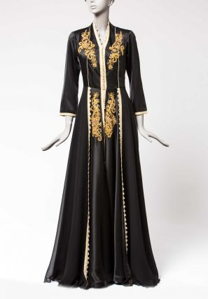 Embroidered Long Dress with Center Lace