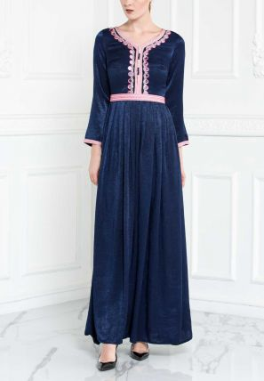 Embroidered Flared Long Dress