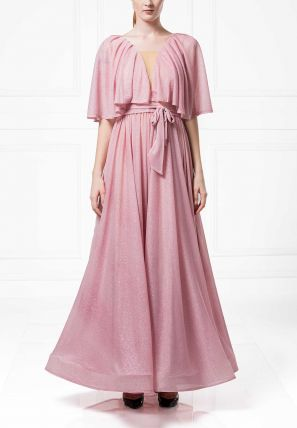 Pleated Cape Ball Gown
