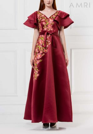 Asymmetrically Embroidered Long Dress