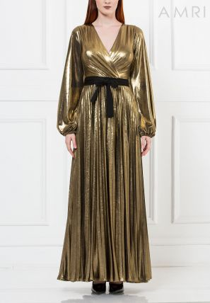 Metallic Pleated Gown