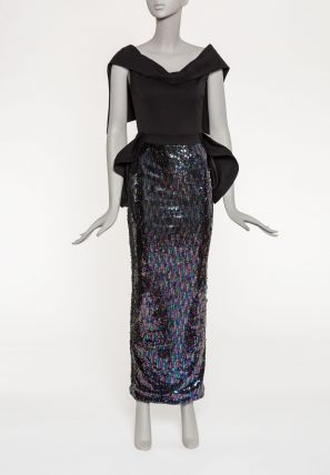 Sequence Bardot Dress With Modified Cape