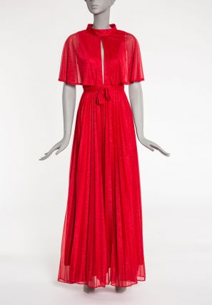 Cape Attached Ball Gown Dress