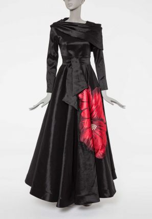 Embroidered Ballgown With Modified Cape