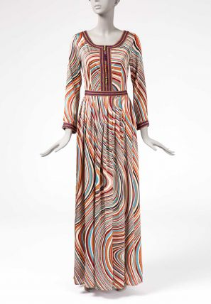 Printed Long Dress with Laces.