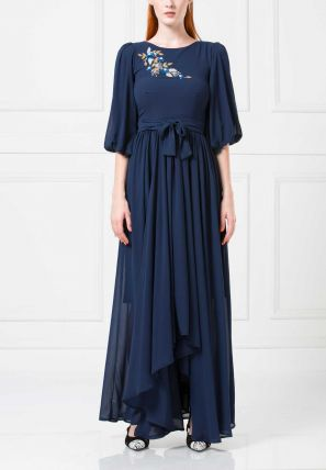 Symmetrical Flared Long dress With Embroidery