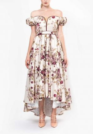 Off Shoulder Floral Printed High & Low Dress