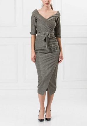 Wrap Over Bardot Dress
