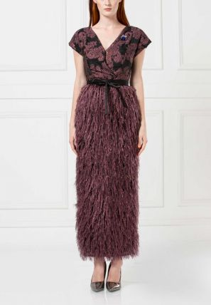 Wrap-over Feather Embellished Bardot Dress
