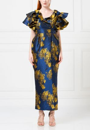 Jacquard Bardot Dress With Layered Butterfly Sleeves