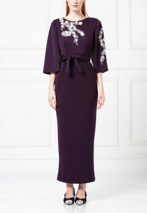 Embroidered Bardot Dress with Open Sleeves