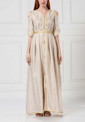 Embroidered Pleated Long Dress With Lace Belt