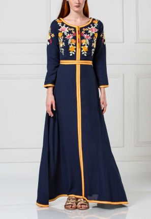 Embroidered Flared Long Dress With Front Lace