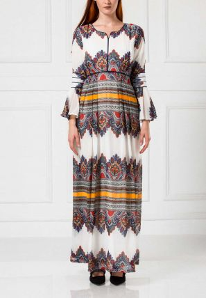 Printed Flared Long Dress