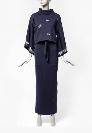 Embroidered Bardot Dress With High Collared Separate Yoke