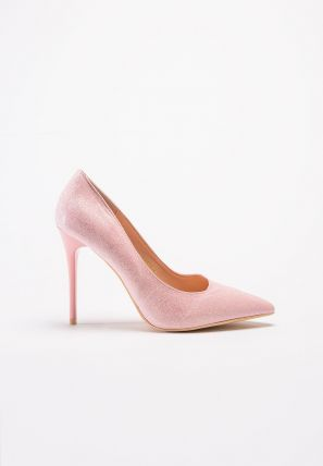 Shimmering pumps featuring a high heel, a pointed toe