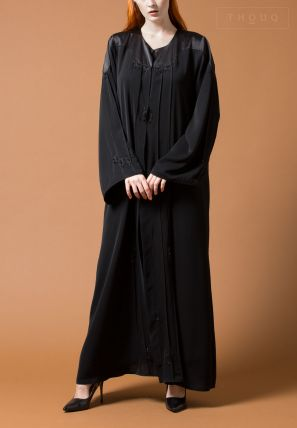 Pleated Abaya With Embroidery