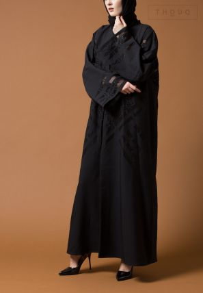 Emroidered Abaya with Lace Sleeve