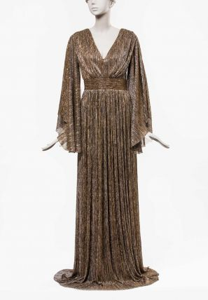 Glitter Yoke Pleated Long Dress With Flared Sleeves