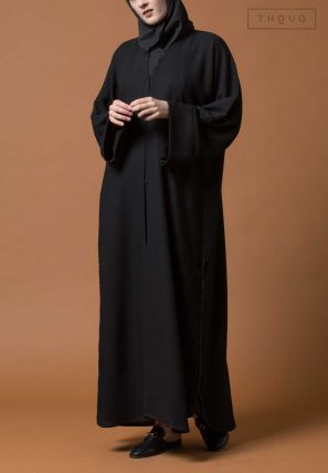 Side Slitted Embroidered Abaya
