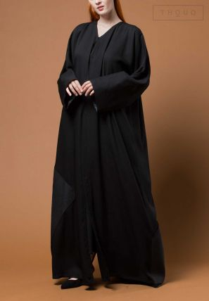 Front Buttoned Abaya With Contrast Patch