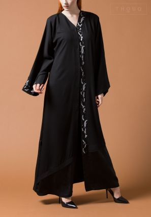 Abaya With Embroidery On Center And Sleeve