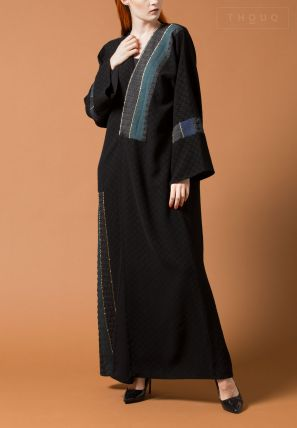 Embellished Abaya with Fabric Patch