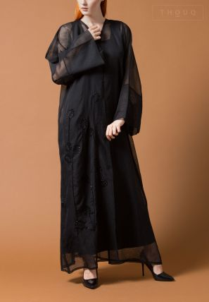 Asymmetrical Embroidered  Abaya