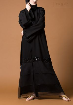 Abaya With Fabric Patch And Embellishment