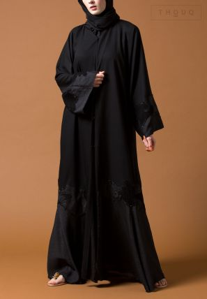 Kimono Sleeve Abaya With Patch Lace