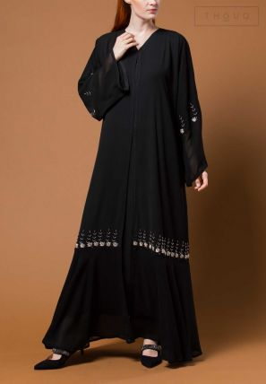 Layered Open Abaya With Embroidery