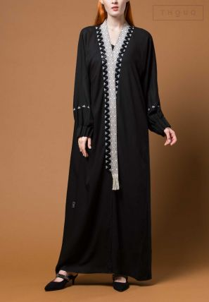 Front Embroidered Abaya With Laces
