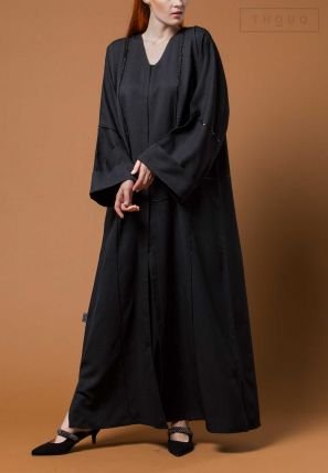 Embroidered Abaya With Folded Sleeves