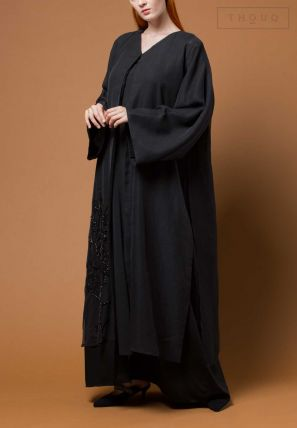 Layered Abaya With Embroidery On One Side