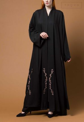 Embroidered Abaya With Continuous Shawl Collar