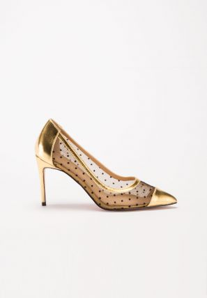 The pointy toe pump with glitter and Polka Dot Mesh