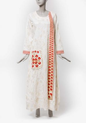 Round Neck Jalabiya with Embroidered Lace and Pocket