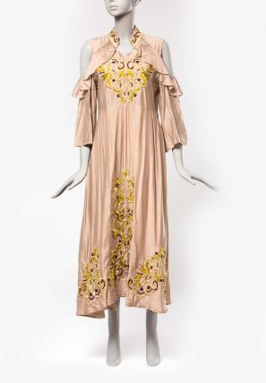 Shawl Collared Embroidered Long Dress