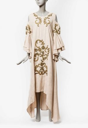 Cold Shouldered High & Low Embroidered Jalabiya