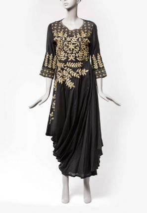 Embroidered Draped Long Dress