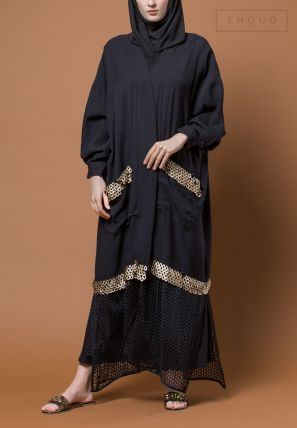 Lace Bisht With Front Pocket