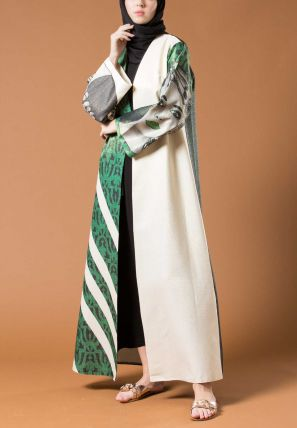 Multi Shaded Bisht With One Side Print