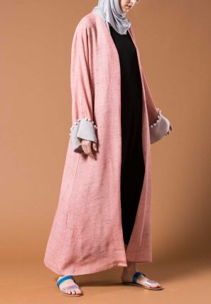 Open Bisht With Folded Sleeve