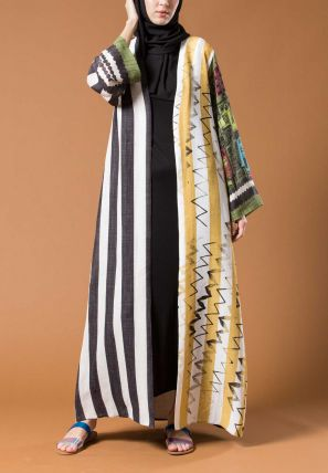 Striped Open Bisht
