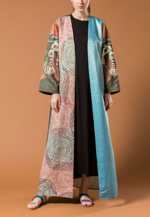 Multi Shaded Printed Open Bisht